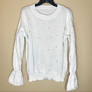 White Pearl Balloon Sleeve Waffle Knit Sweater
